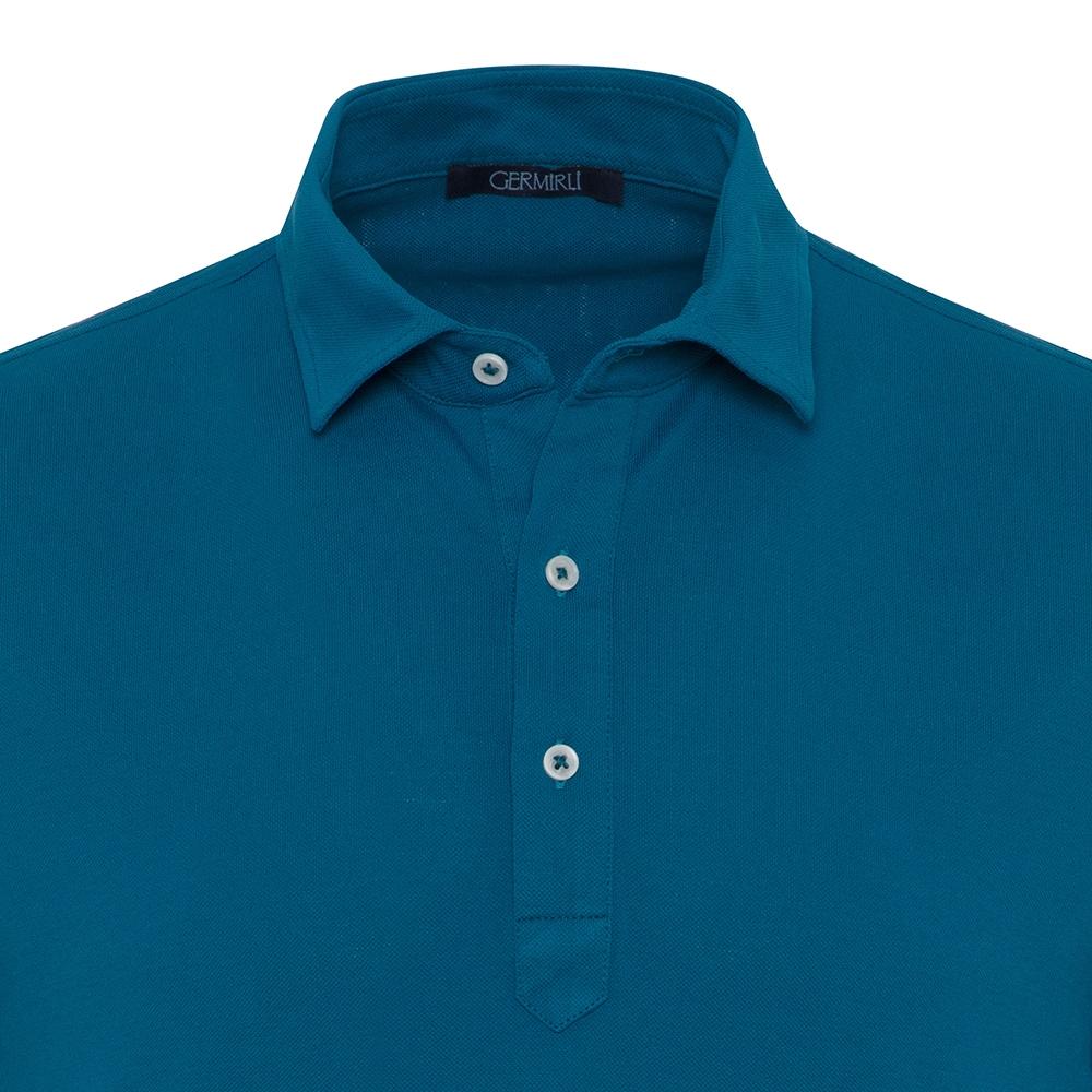Germirli Petrol Yeşili Gömlek Yaka Polo Tailor Fit T-Shirt