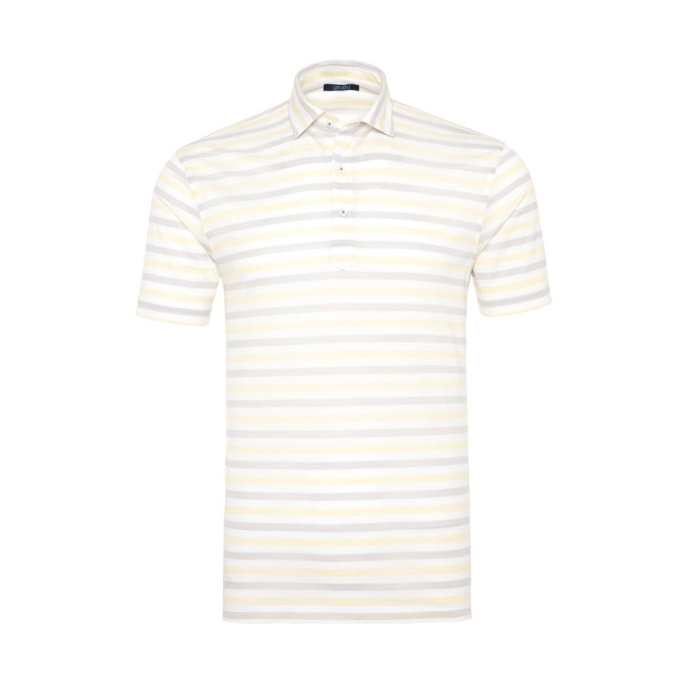 Germirli - Germirli Sarı Beyaz Gri Çizgili Gömlek Yaka Polo Tailor Fit T-Shirt