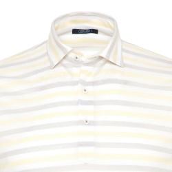 Germirli - Germirli Sarı Beyaz Gri Çizgili Gömlek Yaka Polo Tailor Fit T-Shirt (1)