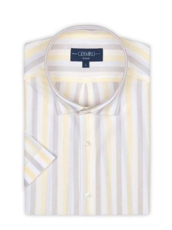 Germirli - Germirli Sarı Beyaz Gri Çizgili Kısa Kollu Soft Yaka Örme Tailor Fit Gömlek (1)