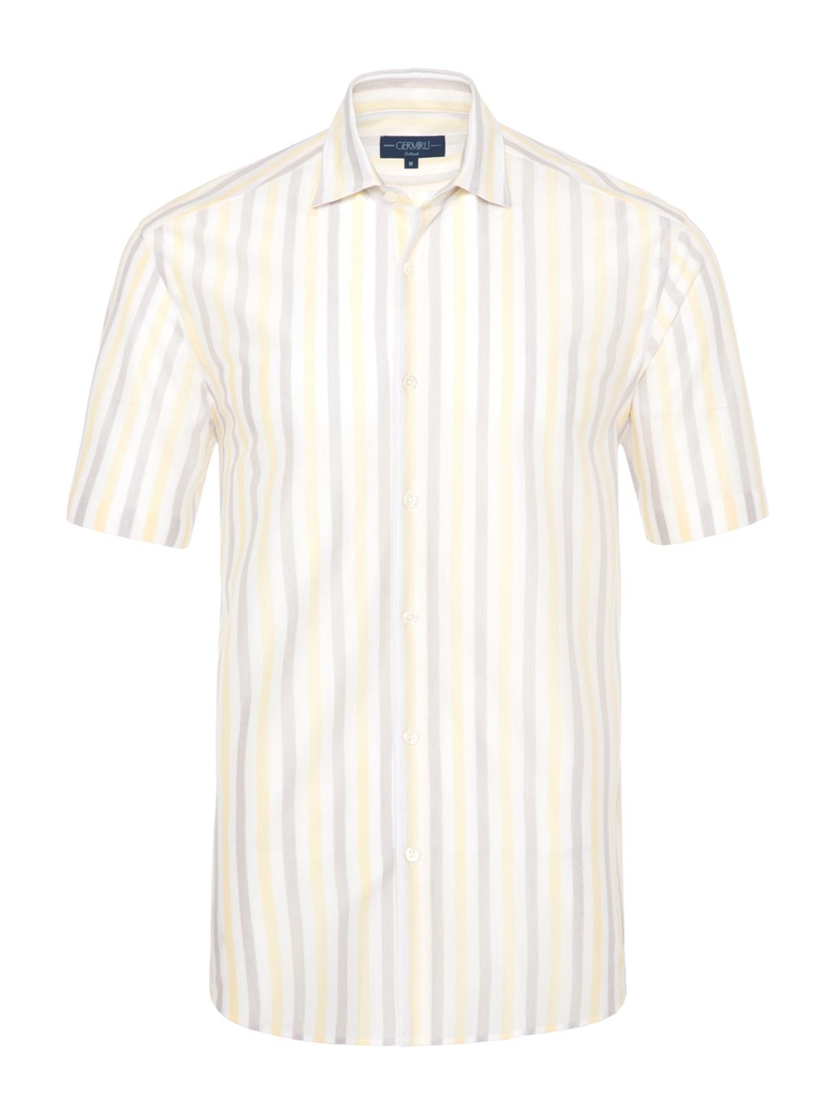 Germirli - Germirli Sarı Beyaz Gri Çizgili Kısa Kollu Soft Yaka Örme Tailor Fit Gömlek