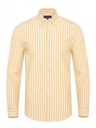 Germirli - Germirli Sarı Beyaz Kalın Çizgili Düğmeli Yaka Tailor Fit Gömlek