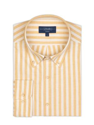 Germirli - Germirli Sarı Beyaz Kalın Çizgili Düğmeli Yaka Tailor Fit Gömlek (1)