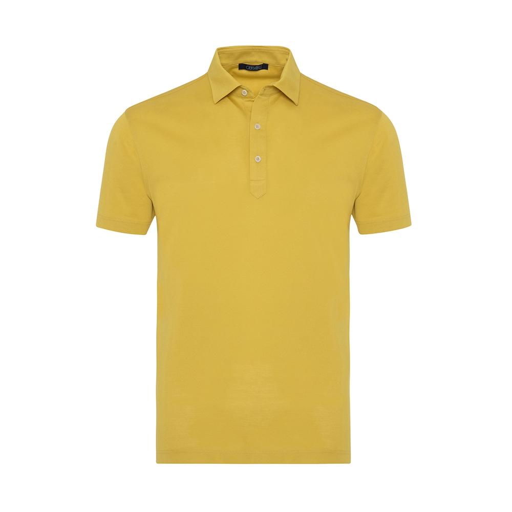 Germirli Sarı Gömlek Yaka Polo Tailor Fit T-Shirt