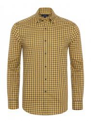 Germirli - Germirli Sarı Gri Kareli Düğmeli Yaka Tailor Fit Gömlek