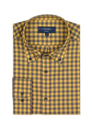 Germirli - Germirli Sarı Gri Kareli Düğmeli Yaka Tailor Fit Gömlek (1)