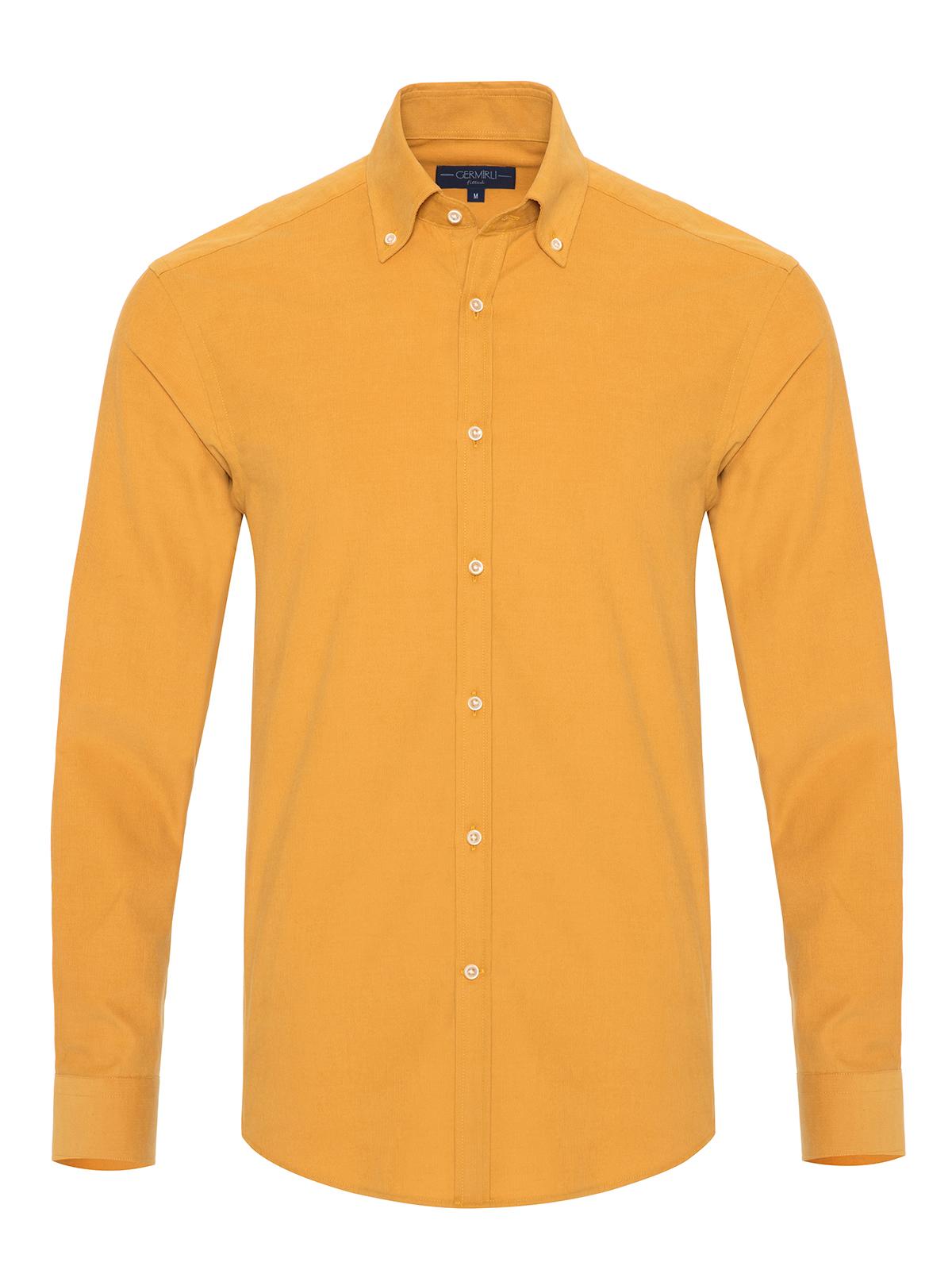 Germirli - Germirli Sarı Kadife Düğmeli Yaka Tailor Fit Gömlek