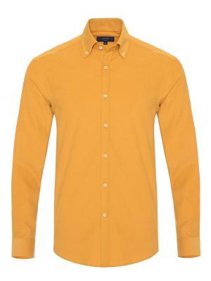 Germirli Sarı Kadife Düğmeli Yaka Tailor Fit Gömlek
