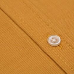 Germirli Sarı Kadife Düğmeli Yaka Tailor Fit Gömlek - Thumbnail