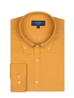 Germirli - Germirli Sarı Kadife Düğmeli Yaka Tailor Fit Gömlek (1)