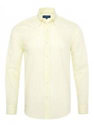 Germirli - Germirli Sarımsı Yeşil Beyaz Çizgili Düğmeli Yaka Tailor Fit Gömlek
