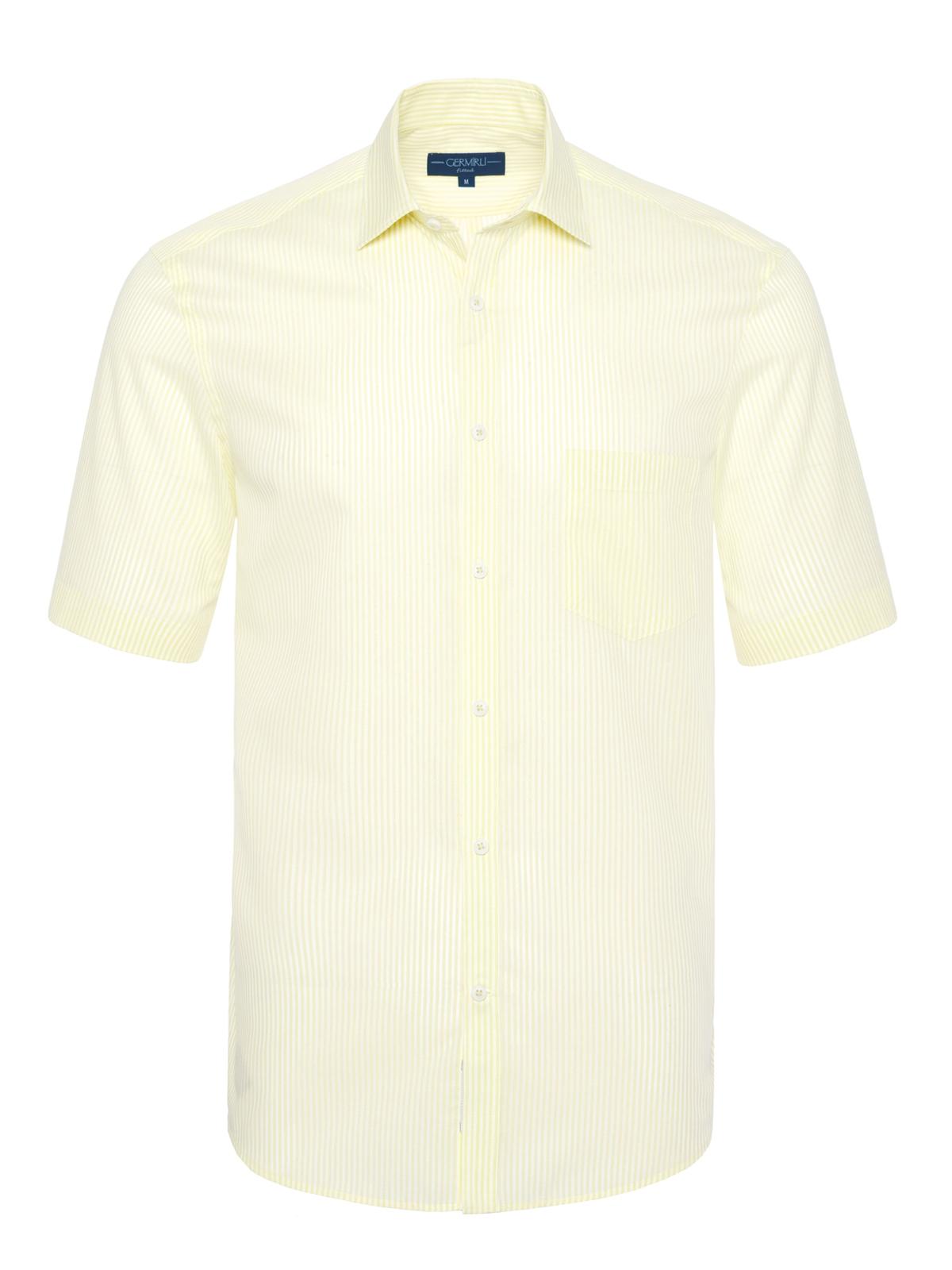 Germirli Sarımsı Yeşil Beyaz Çizgili Kısa Kollu Klasik Yaka Cepli Tailor Fit Gömlek