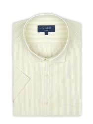 Germirli Sarımsı Yeşil Beyaz Çizgili Kısa Kollu Klasik Yaka Cepli Tailor Fit Gömlek - Thumbnail