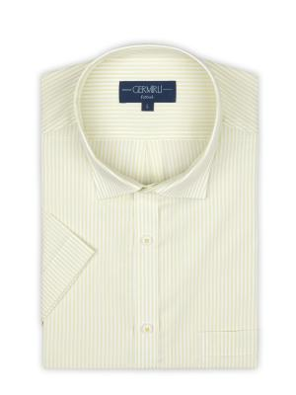 Germirli - Germirli Sarımsı Yeşil Beyaz Çizgili Kısa Kollu Klasik Yaka Cepli Tailor Fit Gömlek (1)