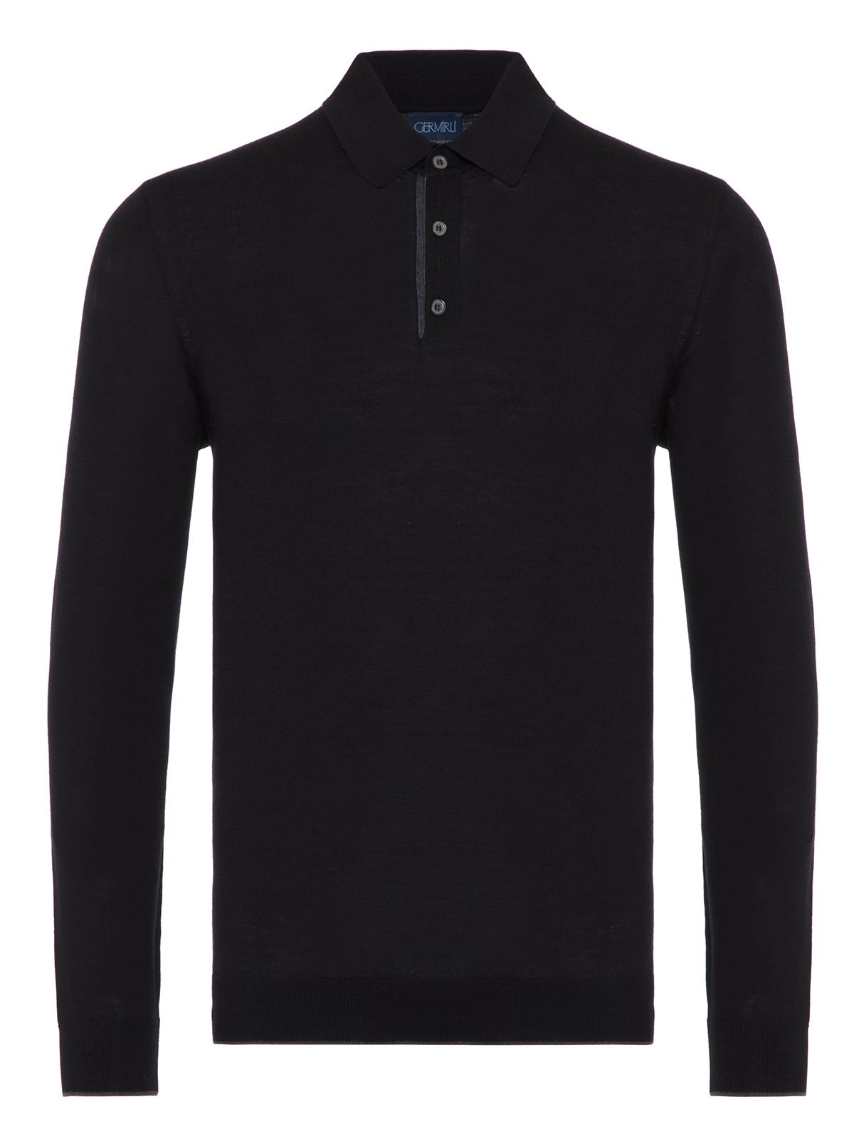 Germirli - Germirli Siyah Düğmeli Polo Yaka Extra Fine Yün Slim Fit Triko