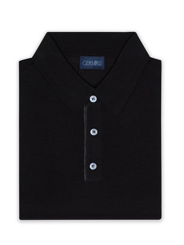Germirli - Germirli Siyah Düğmeli Polo Yaka Extra Fine Yün Slim Fit Triko (1)