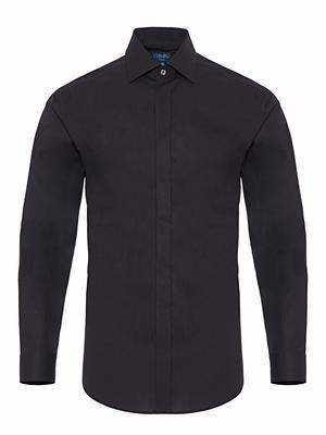 Germirli - Germirli Siyah Gizli Pat Klasik Yaka Tailor Fit Gömlek