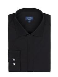 Germirli - Germirli Siyah Gizli Pat Klasik Yaka Tailor Fit Gömlek (1)