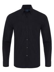 Germirli - Germirli Siyah Kendinden Dokulu Düğmeli Yaka Tailor Fit Gömlek