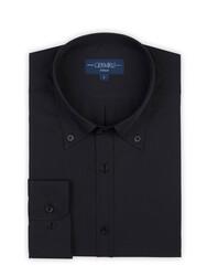 Germirli - Germirli Siyah Kendinden Dokulu Düğmeli Yaka Tailor Fit Gömlek (1)
