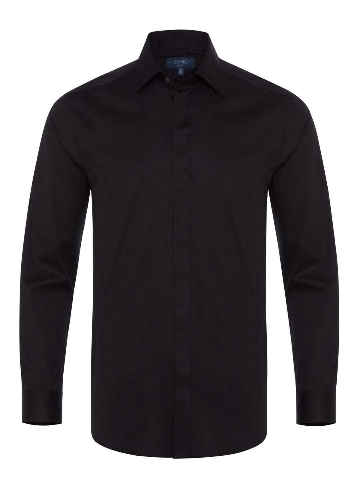 Germirli Siyah Poplin Gizli Pat Klasik Yaka Tailor Fit Gömlek