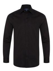 Germirli - Germirli Siyah Poplin Gizli Pat Klasik Yaka Tailor Fit Gömlek
