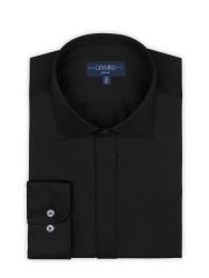 Germirli - Germirli Siyah Poplin Gizli Pat Klasik Yaka Tailor Fit Gömlek (1)