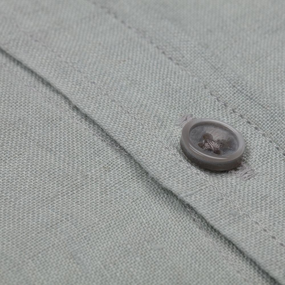 Germirli Su Yeşili Delave Keten Düğmeli Yaka Tailor Fit Gömlek