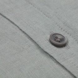 Germirli Su Yeşili Delave Keten Düğmeli Yaka Tailor Fit Gömlek - Thumbnail