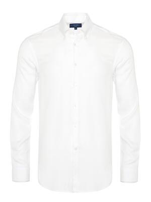 Germirli - Germirli Tencel Beyaz Panama Düğmeli Yaka Tailor Fit Wooderful Gömlek