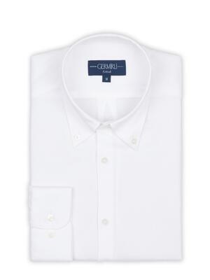 Germirli - Germirli Tencel Beyaz Panama Düğmeli Yaka Tailor Fit Wooderful Gömlek (1)