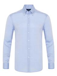 Germirli - Germirli Tencel Blue Panama Button Down Collar Tailor Fit Wooderful Shirt