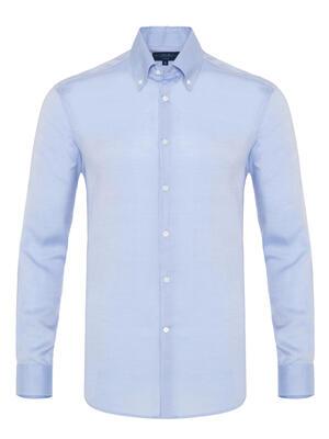 Germirli - Germirli Tencel Mavi Panama Düğmeli Yaka Tailor Fit Wooderful Gömlek