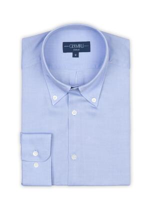 Germirli - Germirli Tencel Mavi Panama Düğmeli Yaka Tailor Fit Wooderful Gömlek (1)