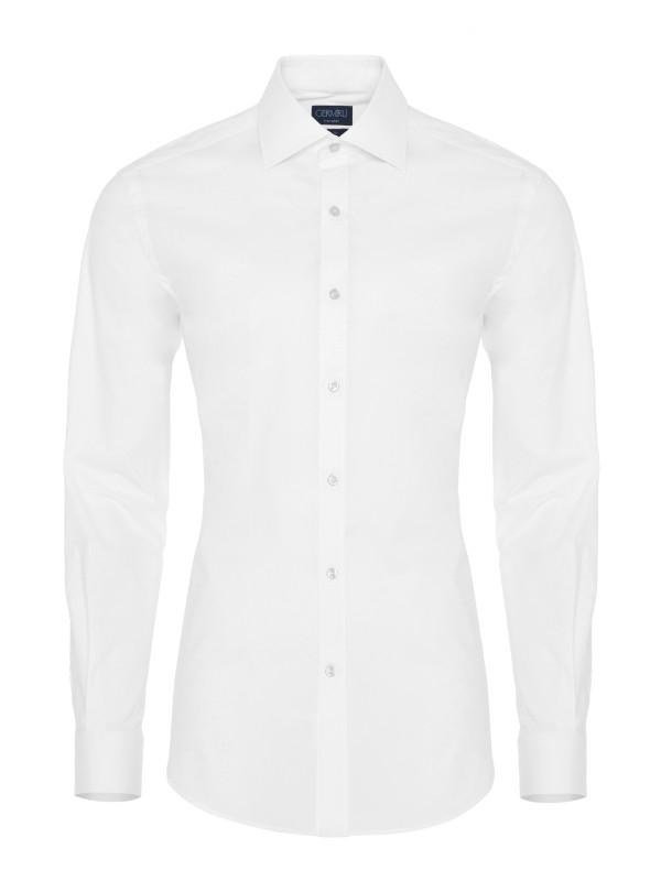 Germirli - Germirli Traveller Klasik Yaka Slim Fit Beyaz Gömlek