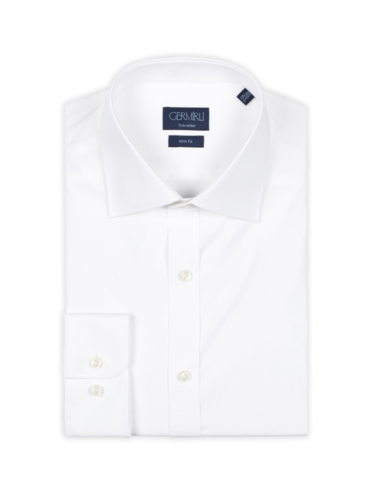 Germirli Traveller Klasik Yaka Slim Fit Beyaz Gömlek