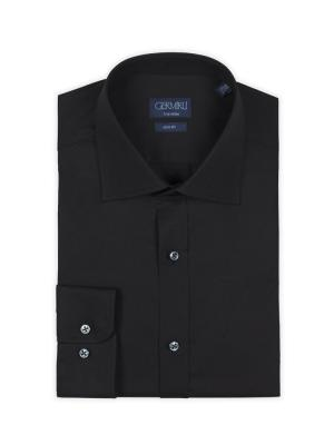 Germirli - Germirli Traveller Klasik Yaka Slim Fit Siyah Gömlek (1)