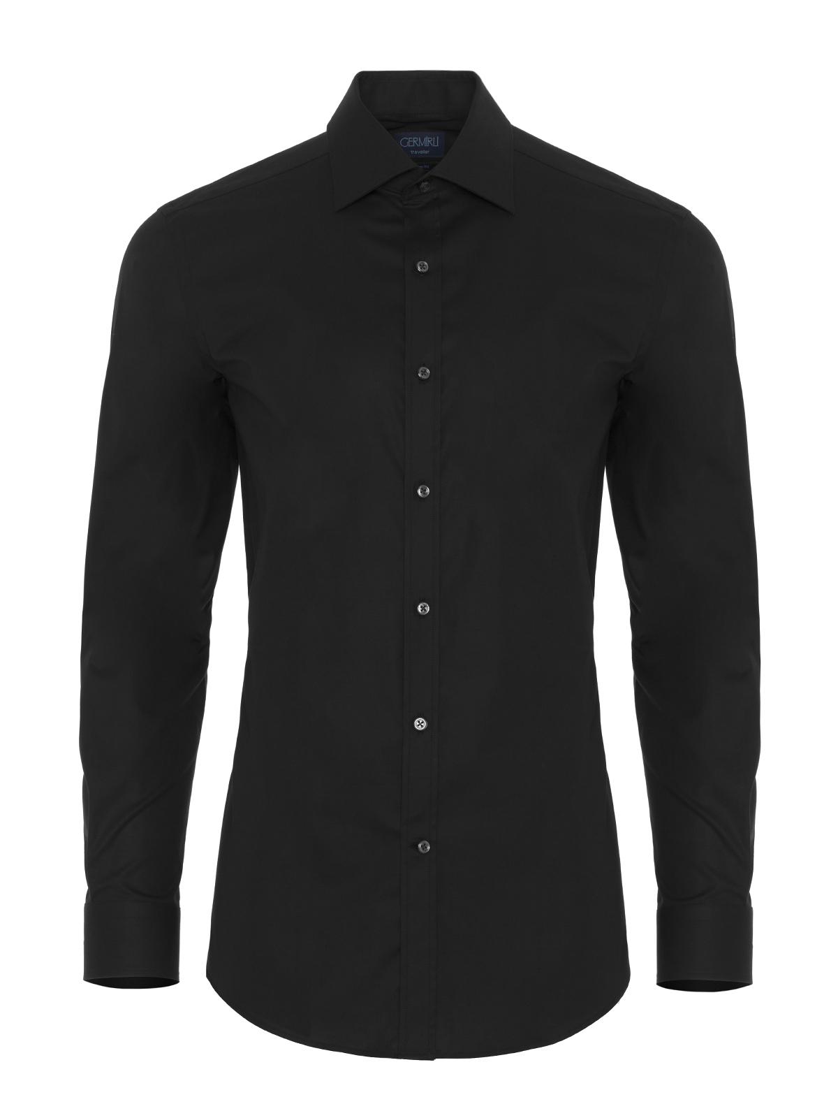 Germirli Traveller Klasik Yaka Slim Fit Siyah Gömlek