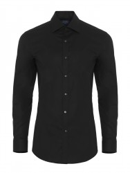 Germirli - Germirli Traveller Semi Spread Slim Fit Black Shirt