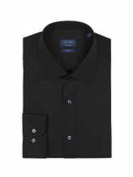 Germirli Traveller Semi Spread Slim Fit Black Shirt - Thumbnail