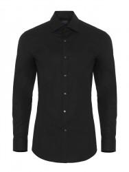 Germirli Traveller Semi Spread Slim Fit Black Shirt - Thumbnail