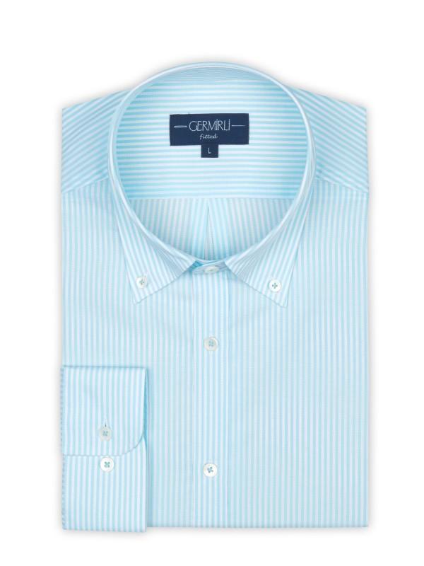 Germirli - Germirli Turkuaz Beyaz Çizgili Düğmeli Yaka Tailor Fit Gömlek (1)