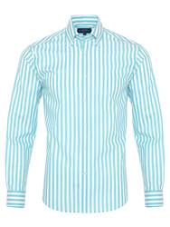 Germirli Turkuaz Beyaz Çizgili Düğmeli Yaka Tailor Fit Gömlek - Thumbnail