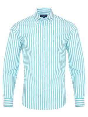 Germirli - Germirli Turkuaz Beyaz Çizgili Düğmeli Yaka Tailor Fit Gömlek