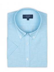 Germirli - Germirli Turkuaz Beyaz Çizgili Keten Pamuk Kısa Kollu Düğmeli Yaka Cepli Tailor Fit Gömlek (1)