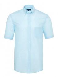 Germirli - Germirli Turkuaz Beyaz Çizgili Keten Pamuk Kısa Kollu Düğmeli Yaka Cepli Tailor Fit Gömlek