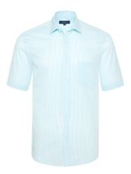 Germirli - Germirli Turkuaz Beyaz Çizgili Kısa Kollu Klasik Yaka Cepli Tailor Fit Gömlek
