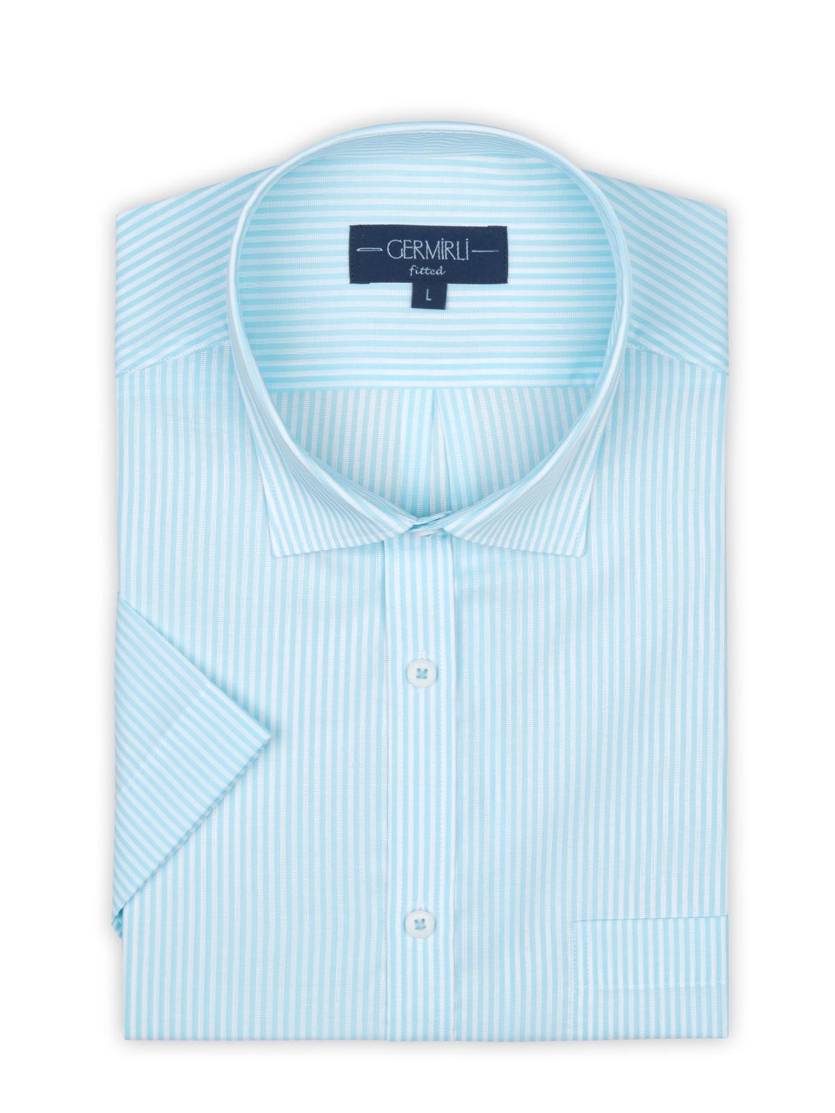 Germirli Turkuaz Beyaz Çizgili Kısa Kollu Klasik Yaka Cepli Tailor Fit Gömlek