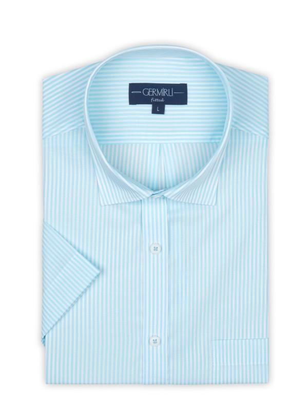 Germirli - Germirli Turkuaz Beyaz Çizgili Kısa Kollu Klasik Yaka Cepli Tailor Fit Gömlek (1)