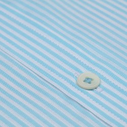 Germirli Turkuaz Beyaz Çizgili Kısa Kollu Klasik Yaka Cepli Tailor Fit Gömlek - Thumbnail